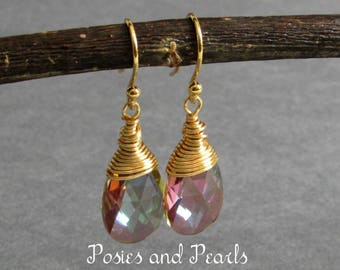 "Light Purple Briolette Earrings, Wire Wrapped Swarovski Crystals, Gold Plated Metal, Wedding Jewelry, ""Glow"" (Purple Haze)"