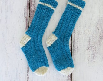 Kids Socks Size 13-1 | Kids Wool Socks | Knit Wool Socks | Childrens Knit Socks | Hand Knit Socks | Kids Work Socks | Handmade Socks
