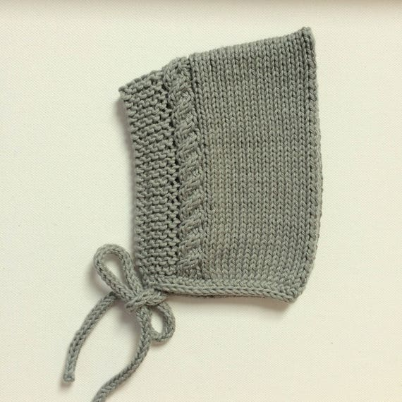 Cotton Cable Pixie Bonnet in Sage Green - Sizes Newborn to 24 months - Pre-Order