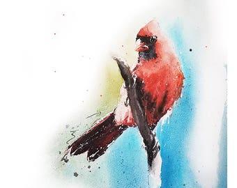 CARDINAL PRINT - cardinal watercolor painting, bird print, bird decor, red bird painting, watercolor bird, cardinal art, bird lover gift
