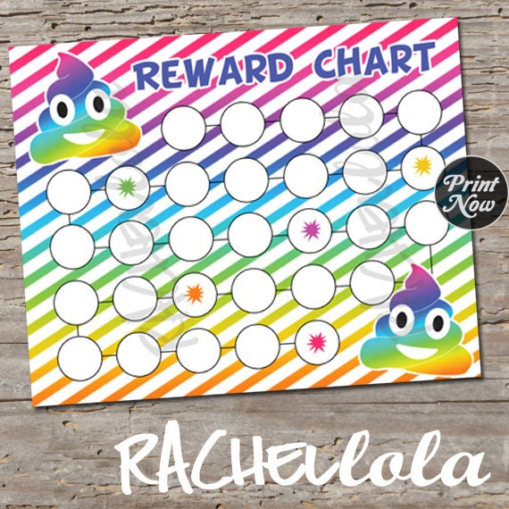 Rainbow Poop Emoji Reward Chart For Kids Printable Instant Digital