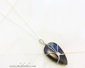 Labradorite Stone Pendant, wire wrapped semi precious stone necklace, Sterling silver necklace, wirewrapped pendant, Blue stone pendant