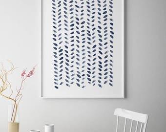 Minimalist Art Print, Large Abstract Print, Large Abstract Wall Art, Navy Blue Grey, Abstract Watercolor,Abstract Painting, Watercolor Print