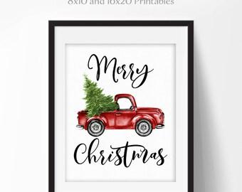 Watercolor Christmas Art, Vintage Truck Printable, Red Truck Art, Downloadable Decor Art, Christmas Decor, 16x20 8x10 DIY Printable