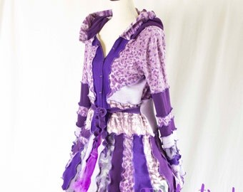 Purple Pixie Jacket Made from Upcycled Cotton Sweaters, Katwise Inspired, Festival Sweater, Triptastica Eco Couture