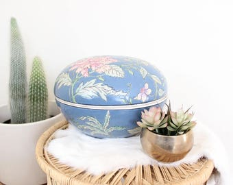 Vintage Chinese Vase Bowl Etched Floral Vase Hand Painted Blue Extra Large Pottery