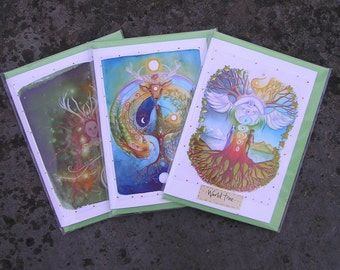 Celtic Shaman Card Pack/greetings card/Faerie Cards/World Tree/Labyrinth/Elen of the ways/Spiritual/Healing/Caduceus/Yin Yang/Rainbow