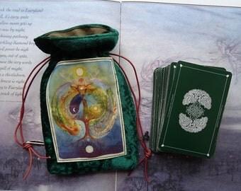 Deer Medicine Green Velvet Tarot Card Bag
