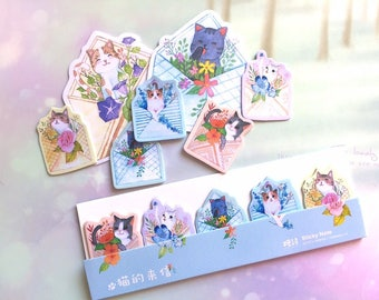 cat envelope Sticky note flower mini garden cat kitten sticky memo notes cat meow meow icon message memo cat theme cat pattern paper gift