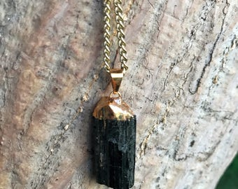 Raw BLACK TOURMALINE Crystal Necklace on an Antique Gold Chain | Electroplated Black Tourmaline Pendant, Crystal Healing Chain Necklace