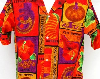 Vintage 60s Hawaii Jaycees World Congress 26 Shirt Men Hawaiian Aloha Tiki Shirts Bright Orange  M S