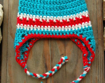 Crochet Baby Boy Hat with Ear Flaps - Red, Turquoise, White, Newborn Photo Prop, Toddler Cap, Hats for Boys, Boys Winter Hat, Baby Boy Hat