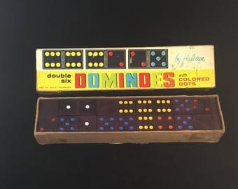 Double Six DOMINOES with COLORED DOTS by Halsam