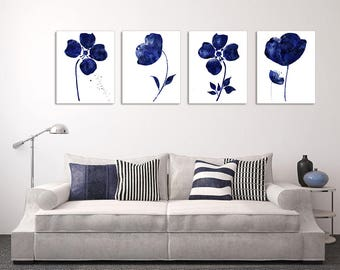 Navy blue wall art etsy for Blue wall art