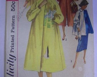 Vintage 1950s Simplicity 1928 HOODED COAT Pattern sz 16  UNCUT womens