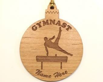Personalized Wood Men's Gymnastics Ornament Pommel Image