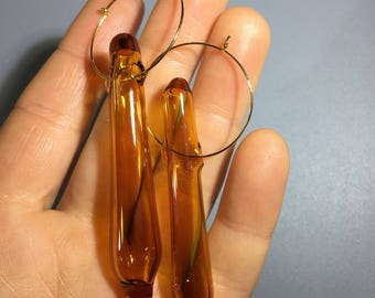 Glass Teardrop Earrings- Hand Blown Borosilicate