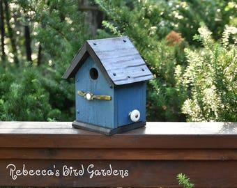 "Blue Rustic Birdhouse ~ ""The Cabin"" - Unique Birdhouse - Wooden Birdhouse - Outdoor Birdhouse - Bird House - Shabby Chic Birdhouse"