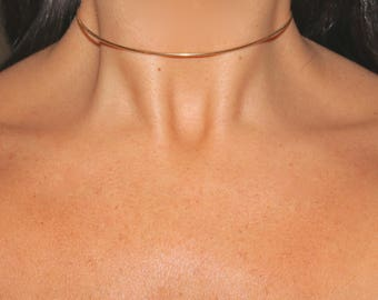 Greek Goddess Rose Gold Vermeil Snake Chain Choker Necklace