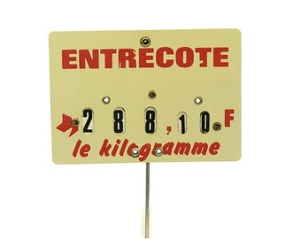 Vintage French Entrecote Butchers Price Ticket Label. Old Store Display Sign.