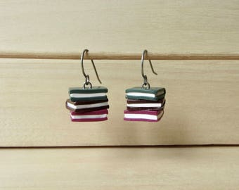 Stack of Books Dangle Earrings, Kawaii Miniature Book Titanium Earrings, Bibliophile Librarian Book Lover Gift, Tiny Book Stack Jewelry