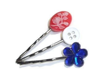 Patriotic Hair Pins, 4th of July Hair Pins, Patriotic Bobbi Pins, Independence Day Bobby Pins, Hand Crafted Hair Pins for Fourth of July