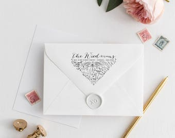 Botanical Return Address Stamp - Laurels Calligraphy Wedding Invitation Stamp - Rustic Envelope Flap Rubber Stamp - Personalized Gift