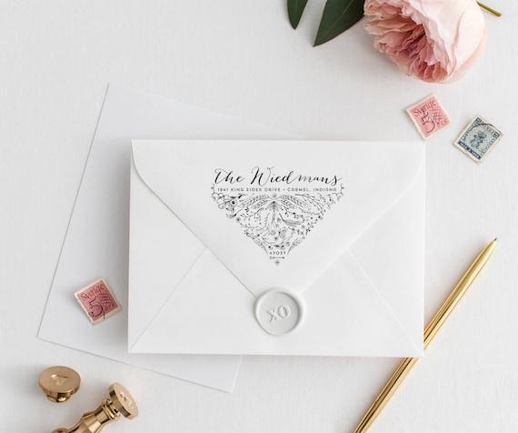 Botanical Return Address Stamp Laurels Calligraphy