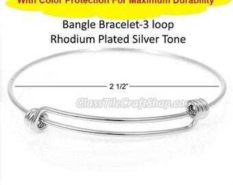 20pk Rhodium Bangle, Silver Tone, Double Bar, Triple Loops, Charm Bracelet, Expandable Bracelet, Wire Bangle, DIY Charm Bangle, BBRHO3LP