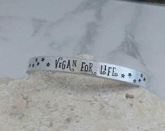 Vegan for life cuff bracelet starry bracelet bangle - adjustable - handstamped
