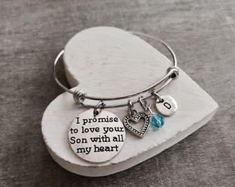 I promise to, love your son, with all my heart, mother of the Groom Bracelet, Mother of the Groom Gift, Wedding Jewelry, Silver Bracelet