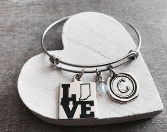 I Love Indiana, Silver Bracelet, Indiana State, Indiana Bracelet, State Jewelry, College, Leaving, Going away, Charm Bracelet, Gift for