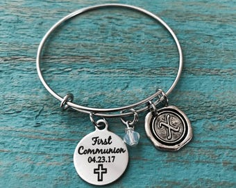 First Communion Gift, First Communion, Silver Bracelet, Charm Bracelet, Bangle Bracelet, Charm Bangle, Keepsake, Silver Jewelry, Gifts