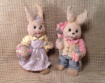 "Set of 2 Large Easter Bunny Figurines - Dressed Up Girl & Boy Bunny Rabbits - Springtime Decor - 9 1/2"" Tall"