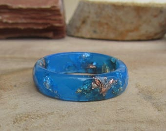 blue pastel ring, thin resin ring, blue resin ring, faced resin ring, gold silver copper flakes inside, resin ring, resin jewelry, blue ring