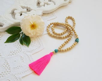 Neon pink long beaded tassel necklace made  / wooden bead tassel necklace / neon pink tassel