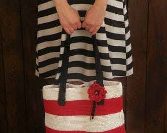 Large crocheted summer bag with red and white stripes.Gift for vegan friend and sister in law. Cotton bag for beach, shopping. Boho bag.