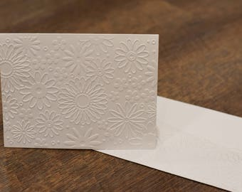 Embossed Flower Blank Note Cards, Greeting Cards, Stationary, Wedding, Bridal,Birthday, Teacher, Garden Party, Invitation, Any Occasion