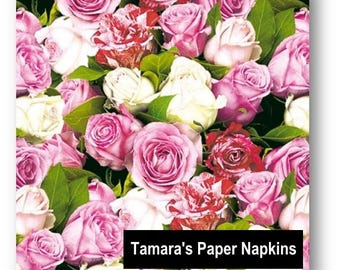 4 Decoupage Napkins, Paper Napkins, ROSES All OVER Pink, 33cm 13 Inch. Printed Paper Napkins for Decoupage, Paper Serviette.