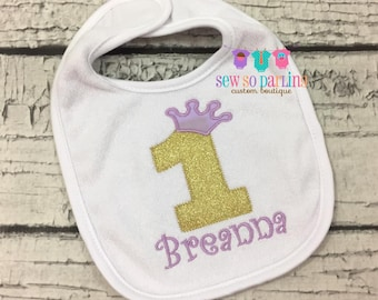 Princess 1st Birthday purple and gold Bib - Birthday Girl Bib - First Birthday Personalized bib - Girls 1st Birthday Bib - Lavender and gold