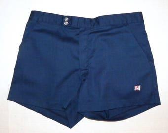 "1970s 70s Catalina Arthur Ashe TENNIS Shorts Dark Blue Men's shorts made California USA Vintage size 36 / W 33 - 34"""