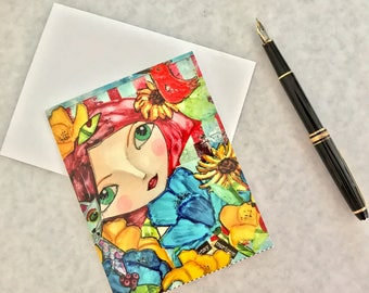 Note card. Art card. Greeting card. Print of original alcohol ink art. Caity's Girls.  Stay Curious.