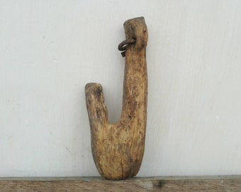 Antique Large Carved Wooden Hook  Handmade 1 Piece Wood 1900-1940, Antique natural wood, Country cottage chic