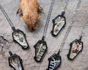 Coffin Necklace - Ossuary - Terrarium - Diarama - Oddities - Curiosities - Casket - Bones - Goth - Witch Jewelry - Macabre - Handmade