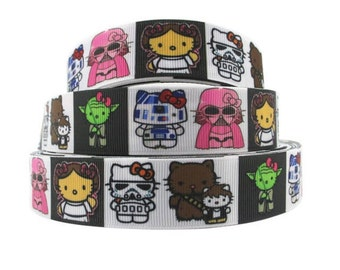 Star Wars R2D2 C3PO Hello Kitty Grosgrain ribbon