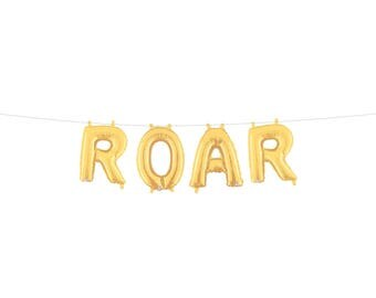 Roar Gold Silver Letter Balloon Banner Gold Foil Mylar Letter Balloons Lion Birthday Party Boy First Birthday Party Circus Decorations