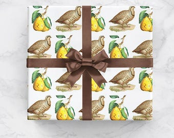 Partridge Pear Tree Vintage Christmas Theme Wrapping Paper Two Sizes Available For Wrapping Holiday Xmas Gifts