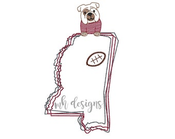 State of Mississippi with Bulldog and Football embroidery design, Vintage stitch bulldog, Mississippi embroidery file, Bean stitch bulldog