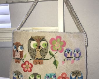 Vintage needlepoint owl purse