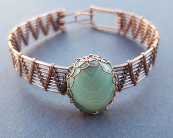 Wire Wrapped Bracelets for Women, Oxidized Copper Bracelet, Copper Bangle Antiqued & Wire Wrapped, Handmade Boho Jewelry, Gifts for Women